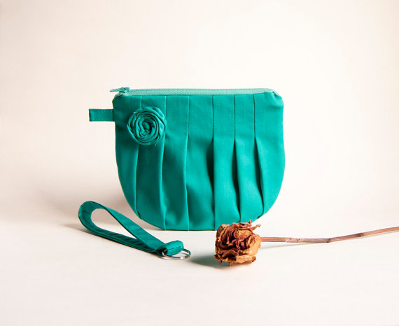 Green Turquoise Bridal Wedding Clutch Or Bridesmaid Pouch Wristlet Purse Rosebud Pleats By Lolos