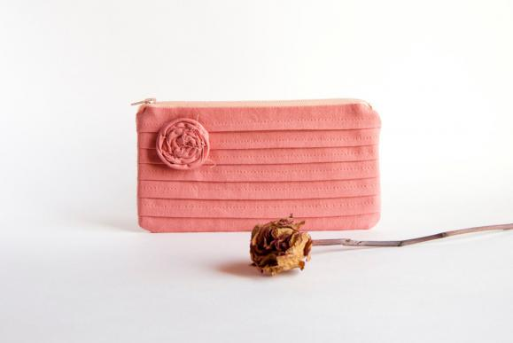 Coral Bridal Clutch or Bridesmaids Clutch, Pouch, Purse - Romantic Rose pleats by Lolos