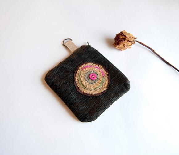 Brown Black jacquard zippered little coin wallet, pouch, purse by Lolos