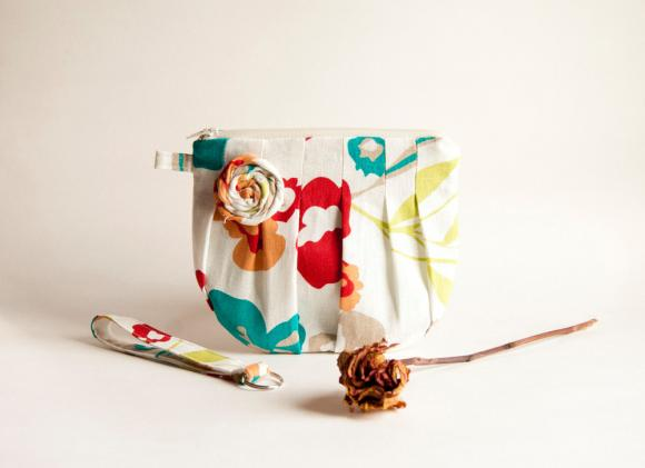 White Cream Bridal Clutch or Bridesmaids Clutch Pouch Wristlet Romantic Rosebud pleats by Lolos