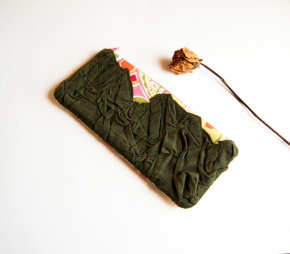 Crazy colorful pleats in green zippered pouch, purse, clutch by Lolos