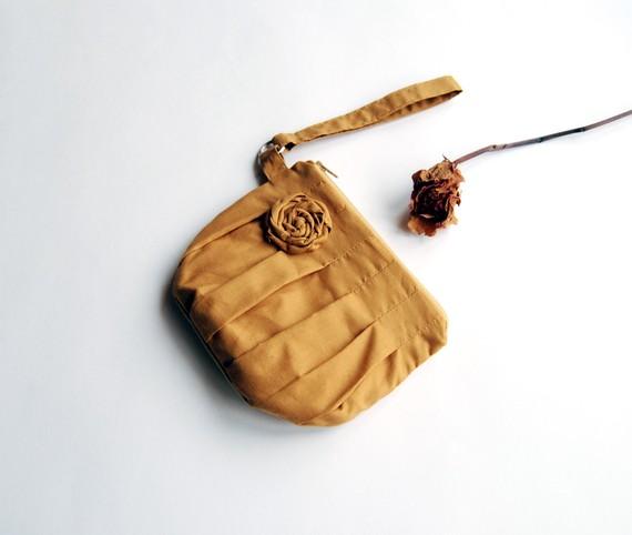 Mustard gold Bridal Wedding Clutch or Bridesmaid Clutch, Wristlet, Pouch, Purse - Romantic Rosebud pleats by Lolos