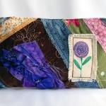 Crazy colorful patchwork with a purple flower purse, pouch, clutch by Lolos