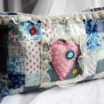 Colorful Squares Patchwork in blues with a pink heart clutch, purse, pouch bag by Lolos
