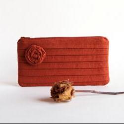 Terracotta Orange Bridal Clutch or Bridesmaids Clutch, Pouch, Purse - Romantic Rose pleats by Lolos